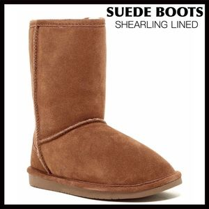 SUEDE SHEARLING LINED TAN SHORT BOOTS BOOTIES